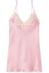 La Perla Maison Embroidered Lace Trimmed Silk Blend Satin Chemise Pastel Pink