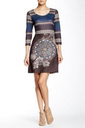 Papillon 3 4 Length Sleeve Scoop Neck Sweater Dress Multi