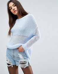 Asos Oversized Jumper In Chunky Open Knit Blue
