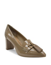 Tahari Tami Point Toe Patent Leather Tassel Pump Toast