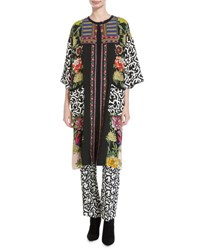 Etro Floral And Geometric Print Viscose Topper Coat Pink Multicolor Pink Pattern
