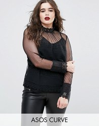 Asos Curve Sheer Lace Insert Top With Pie Neck Black