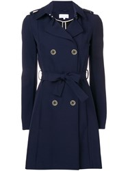Patrizia Pepe Belted Trench Coat Blue