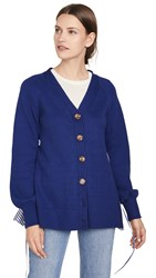 Adeam Ruched Parachute Cardigan Navy Gingham
