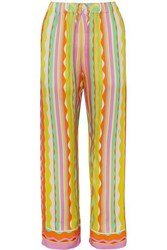 Emilio Pucci Printed Voile Straight Leg Pants Yellow