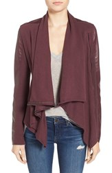 Blank Nyc Women's Blanknyc 'Private Practice' Mixed Media Drape Front Jacket Red