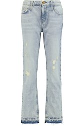Current Elliott The Cropped Distressed Low Rise Boyfriend Jeans Blue