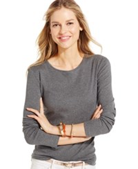 Charter Club Solid Long Sleeve Pima Cotton Top Charcoal Heather