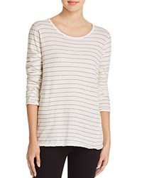 Current Elliott The Long Sleeve Boyfriend Stripe Tee Dirty White Runaway Stripe