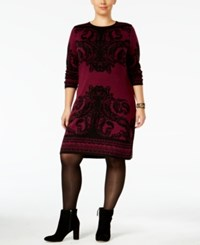 Ny Collection Plus Size Jacquard Sweater Dress Burgundy