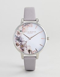 Olivia Burton Ob16pp32 Watercolour Floral Leather Watch In Grey Lilac
