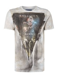 Religion Men's Triangle Collage Print T Shirt Taupe