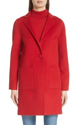 St. John Collection Wool Blend Double Face Coat Burnt Red