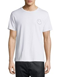 Rag And Bone Rag And Bone Face Embroidered Short Sleeve Jersey Tee Bright White Size Medium