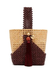 Rosantica By Michela Panero Budd Wicker And Beaded Wood Bucket Bag Burgundy Multi
