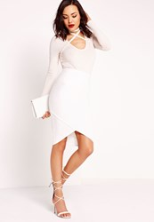 Missguided Bandage Asymmetric Hem Midi Skirt White White