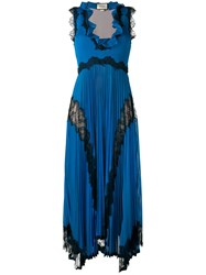 Gucci Plisse Pleated Lace Insert Gown Women Silk Polyester Spandex Elastane Metallic Fibre S Blue