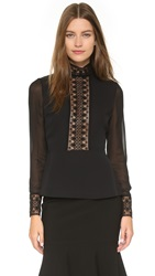 Yigal Azrouel Black Lace Collar Top Jet