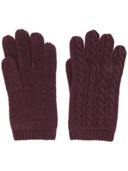 Aspesi Cable Knit Gloves Red