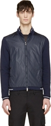 Moncler Navy Nylon And Jersey Zip Up Sweater