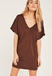 Missguided Brown Petite Wide Neck T Shirt Dress Chocolate
