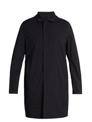 Wooyoungmi Point Collar Wool Blend Seersucker Coat Navy