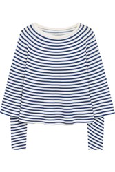 Maison Martin Margiela Mm6 Striped Stretch Jersey Top Blue