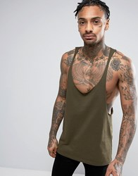 Asos Tank With Raw Edge Extreme Racer Back In Green Green