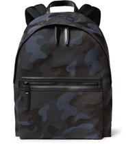 Mulberry Leather Trimmed Camouflage Print Canvas Backpack Navy