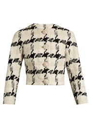 Alexander Mcqueen Boucle Tweed Cropped Jacket White Black