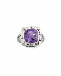 John Hardy Batu Kali Square Amethyst Ring Purple