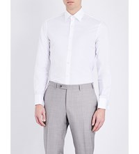 Gieves And Hawkes Tailored Fit Pinstripe Cotton Shirt White