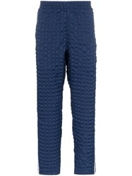 Adidas Check Quilt Striped Trackie Bottoms Blue