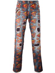 Philipp Plein Superman Print Jeans Blue