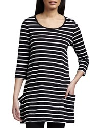 Joan Vass Striped Knit Tunic Black White