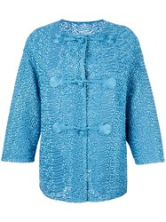 Ermanno Scervino Collarless Textured Jacket Blue