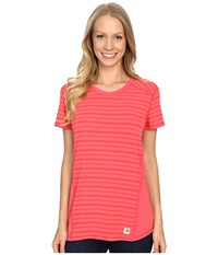 Carhartt Force T Shirt Striped Geranium Coral Heather Women's Short Sleeve Pullover Red