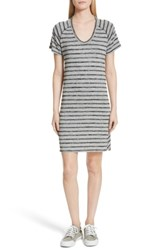 Rag And Bone Women's Jean Stripe T Shirt Dress Heather Grey Black