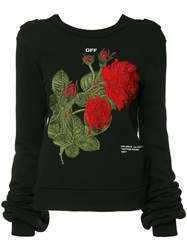 Off White Rose Embroidery Top Black
