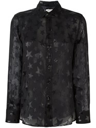 Saint Laurent Star Pattern Sheer Shirt Black