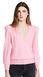 Autumn Cashmere Puff Sleeve V Neck Pullover Candy