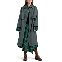 Cedric Charlier Plaid Trench Coat Grn. Pat.