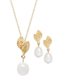 Macy's Cultured Freshwater Pearl 7Mm Leaf Pendant Necklace And Drop Earrings Set In 14K Gold White
