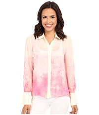 Ellen Tracy Soft Shirt Lucent Petals Azalea Women's Clothing Pink