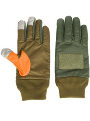 Ganryu Comme Des Garcons Contrast Thumb Gloves Green