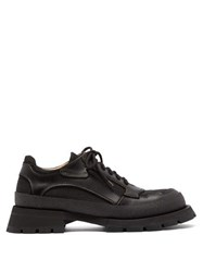Jil Sander Exaggerated Sole Leather Trim Derby Shoes Black