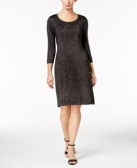 Nine West Metallic Sheath Dress Black Silver