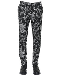 Dolce And Gabbana 17.5Cm Viscose Blend Jacquard Pants Black White