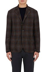 Barena Venezia Men's Plaid Wool Three Button Sportcoat Dark Grey