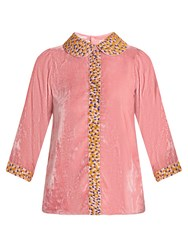 Jupe By Jackie Holi Embroidered Silk Velvet Top Pink Multi
